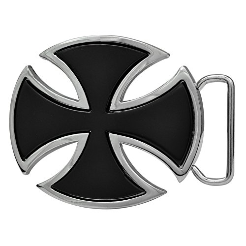 Buckle Rage Adult Mens Celtic Iron Maltese Cross Enamel Punk Belt Buckle Black