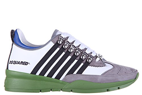 Dsquared2 Herrenschuhe Herren Leder Schuhe Sneakers Kalbsleder 251 Weiß EU 41 S16SN101 713 M909 thumbnail