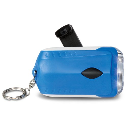 Bryan Blue Dynamo LED Flashlight Emergency Handcrank Survival Rechargeable Light - 4 Inch