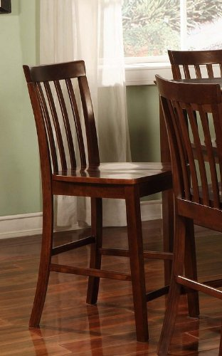 Coaster Contemporary Counter Height Stools, Walnut Wooden Finish, Set Of 2, 24-Inch