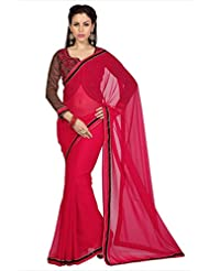 Designersareez Women Red Faux Georgette Saree With Unstitched Blouse (1632)