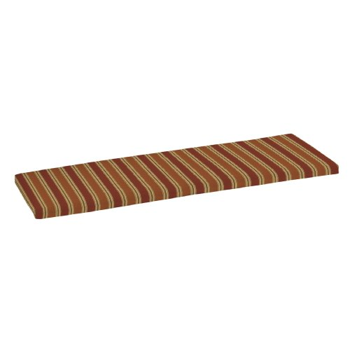 Strathwood 3-Seater Hardwood Bench Polyester Cushion, Striped Landry Pumpkin