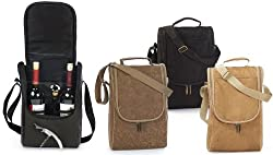 Insulated Wine Double Bottle Carrier Tote with Opener & Stopper - Camel Suede