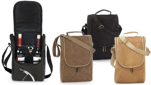 Insulated Wine Double Bottle Carrier Tote with Opener & Stopper - Black