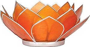 Luna Bazaar Mango Orange 3-Layer Capiz Lotus Candle Holder (silver edged)