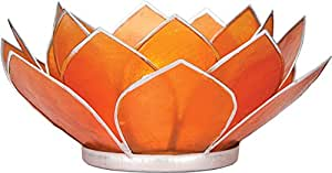 Luna Bazaar 3-Layer Capiz Lotus Candle Holder (5-Inch, Mango Orange, Silver-Edged)