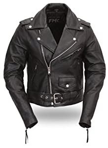 First Manufacturing Black XXXXX-Large Women's Classic Motorcycle Jacket