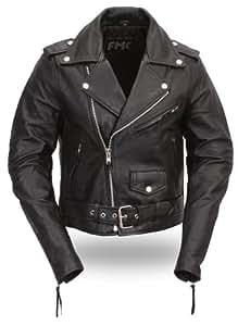 First Manufacturing Women's Classic Motorcycle Jacket (Black, Medium)