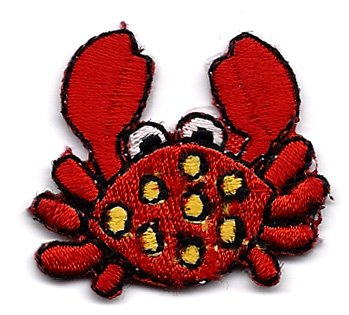 Crab red sand crab Embroidered Iron On Patch Applique