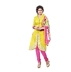 Kush Collection Women's Chanderi Lemon Yellow Unstitched Dress Material