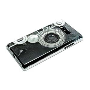 LG Optimus L7 P700 Housse Portable Coque Poche Étui Dur Dos Hard Case Motif Vintage Caméra