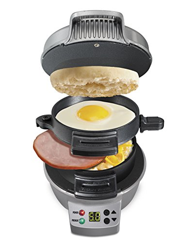New Hamilton Beach 25478 Breakfast Sandwich Maker with Timer, Silver