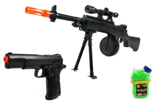 (Combo) Velocity Airsoft Mini M14 Spring Airsoft Gun Fps-250 + Marine Corp Electric Blowback Airsoft Pistol Semi Auto Fps-180 + 1000 Bb'S Clip-On Holster Container