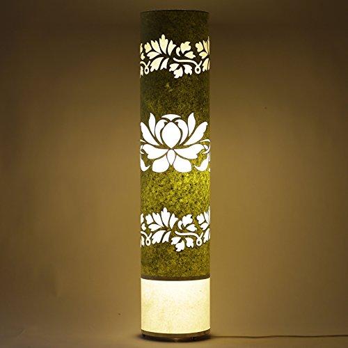 handmade-paper-green-white-shade-indoor-floor-lamp-lotus-bed-viving-dining-area-light