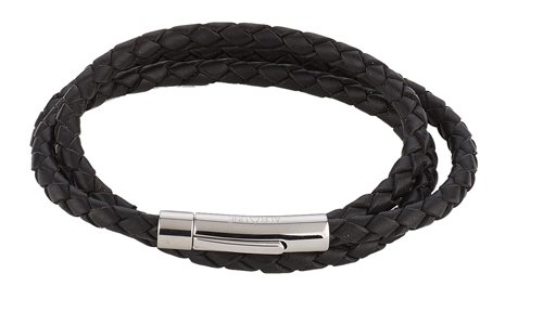 Alraune Trinity 103419 Unisex Bracelet Black Leather 3 Strands Stainless Steel Clasp 63 cm