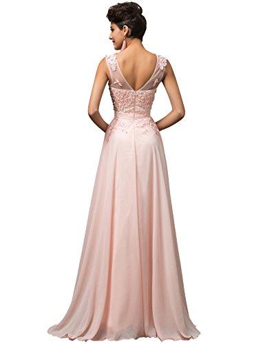 Women V-Back Long Prom Dresses Pink Size 2 TS7555-1