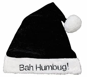 Black and white ~ BAH HUMBUG ~ Santa Claus hat - sofy velour with plush trim - scrooge hat, great for office parties!