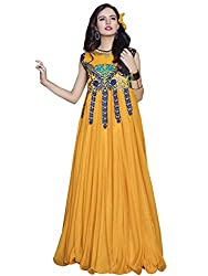 Georgette Gown Unstiched Dress Material (DV187-10010_Yellow)