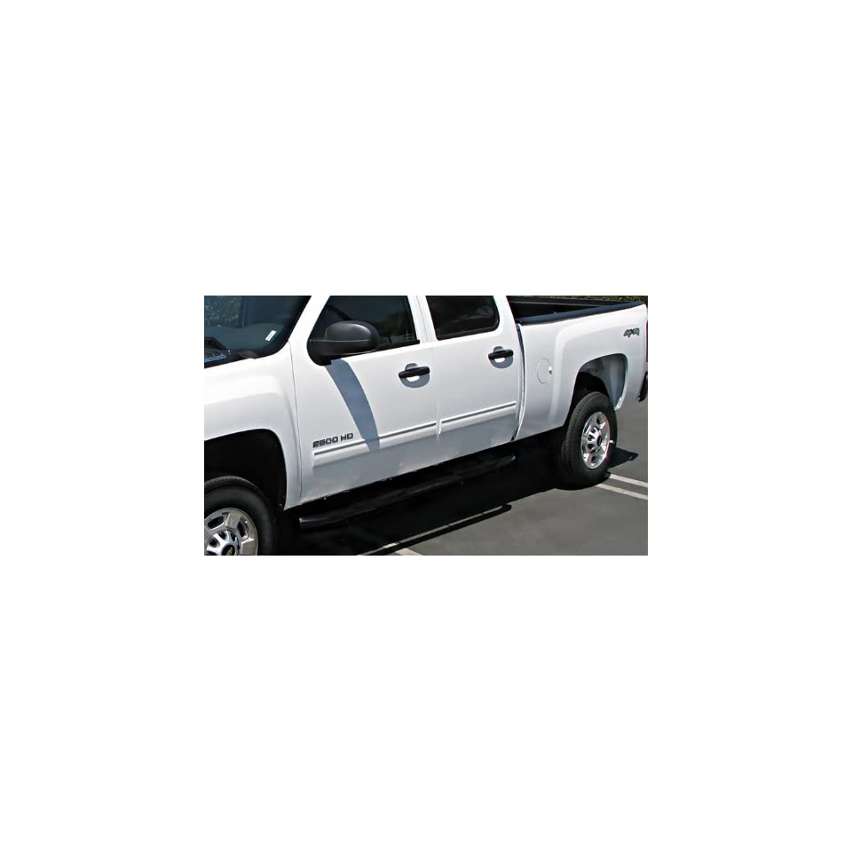 "Premium Custom Fit 2007 2014 Chevy Silverado/Gmc Sierra 1500 Crew Cab/2007 2013 Silverado/Sierra 2500/3500 Crew Cab (Excluding Diesel Models With Def Tanks) Black 3"" Side Step Nerf Bars Running Boards(2pcs with Mounting Bracket Kit) Automotive"