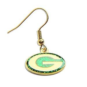 Green Bay Packers Glitter Sparkle Dangle Logo Earring Set Charm Gift