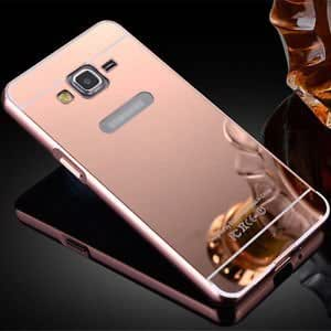 AE(TM) J7 2016 Luxury Metal Bumper + Acrylic Mirror Back Cover Case For SAMSUNG GALAXY J7 (2016) ROSE GOLD