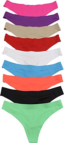 ToBeInStyle Women's Pack of 6 Laser Cut Thongs Size: X-Large