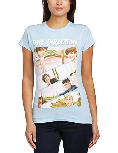 One Direction - T-shirt con scollo tondo, Donna, Blue, M