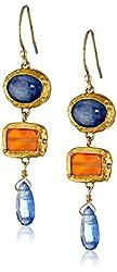 Nava Zahavi 24k Gold Kyanite and Carnelian Drop Earrings