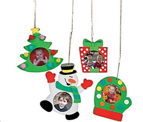 Foam Christmas Holiday Picture Frame Ornament Craft Kit - Pack of 12 Kits (Photo Frame Craft compare prices)