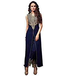 Regalia Ethnic New Collection Navy Blue Georgette Embroidered Semistitched Dress Material With Matching Dupatta