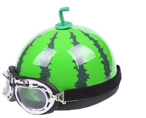 Bikman Motorcycle Motor Helmet Electric Cars Safety Bike Summer Helmet Watermelon Printing With Glasses (L(56-60Cm))