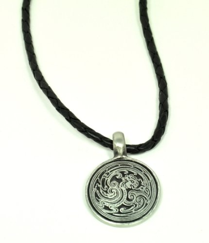 20-inch Men's Black Leather Necklace w/ Embossed Dragon Pendant