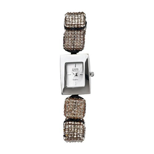 Damenmode Watch Grau Diamante Cube Ajustable Shamballa Style-Armband - 3020L-GY