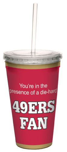 Tree-Free Greetings cc34134 49ers Football Fan Artful Traveler Double-Walled Cool Cup with Reusable Straw, 16-Ounce at Amazon.com