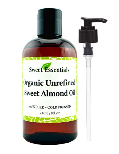 100% Pure Organic Unrefined Sweet Almond Oil - Various Sizes - Imported From Italy - Great Anti Aging Moisturizer for Your Face, Skin, Hair and Nails - Wonderful Massage Oil - Perfect Choice for a Relaxing Bath Oil - Almond Oil is an All Natural Baby Oil - Absorbs Quickly - No Oily Residue (8 Fluid Ounces) (Cold Pressed Almond Oil Organic compare prices)