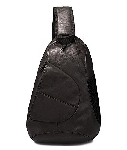 FreeMaster da uomo, in pelle sintetica, stile Vintage-Borsa a spalla, zaino da torace tracolla, per la scuola, con zaino, Messenger Bags nero nero
