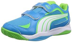 Puma Ballesta V, Chaussures de sports en salle mixte enfant - Bleu (Fluo Blue/White/Green 13), 35.5 EU