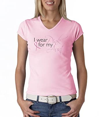Breast Cancer Awareness Ribbon I WEAR PINK FOR MY AUNT Ladies V-neck T-shirt - Pink, Small