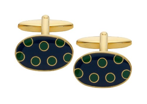 Code Red Gold Plated Cufflinks with Navy Enamel and Green Enamel Spots