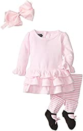 Mud Pie Baby-Girls Newborn Velour Dress with Tights and Headband, Pink, 3-6 Months