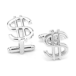 Dollar Sign Silver Metal Cuffinks for Men
