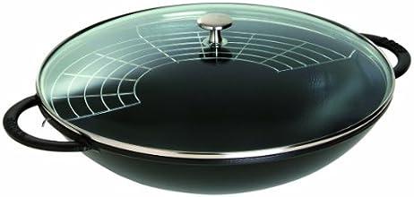 Staub Wok mit Glasdeckel (37cm, 5,7 L mit mattschwarzer Emaillierung im Inneren des Topfes) schwarz