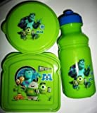 Disney PIXAR Monsters University Inc. MU Sandwich Water Bottle Snack Container 3 piece Lunch Set