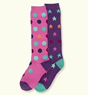2 Pairs Of Cotton Rich Spot & Star Wellie Socks