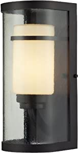 Elk 14101/1 6 by 14-Inch Caldwell 1-Light Outdoor Sconce with Glass Shade, Oiled Bronze Finish