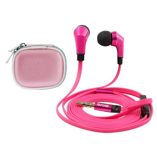 Ikross Hot Pink / Black In-Ear 3.5Mm Noise-Isolation Stereo Earbuds With Microphone + Pink Accessories Carrying Case For Acer Aspire Switch 10, Iconia One 7, Tab 7 (A1-713), B1-720, A1-830, A3-A10, B1-A71, W510, W700, Tab A110 And More Tablet