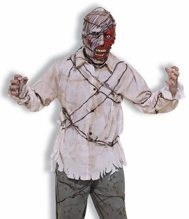 Barbed Wire Pierced Zombie Living Dead Adult Halloween Costume & Mask