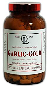 Olympian Labs Garlic-gold, 600mg, 7200mcg Allicin, 250 Caplets