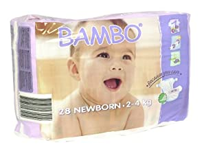 Abena Bambo Premium Baby Diapers, Size 1, Newborn, 28 Count (Pack of 6)