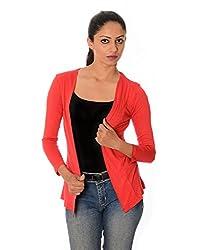 Oviya Women's Red Solid Shrug